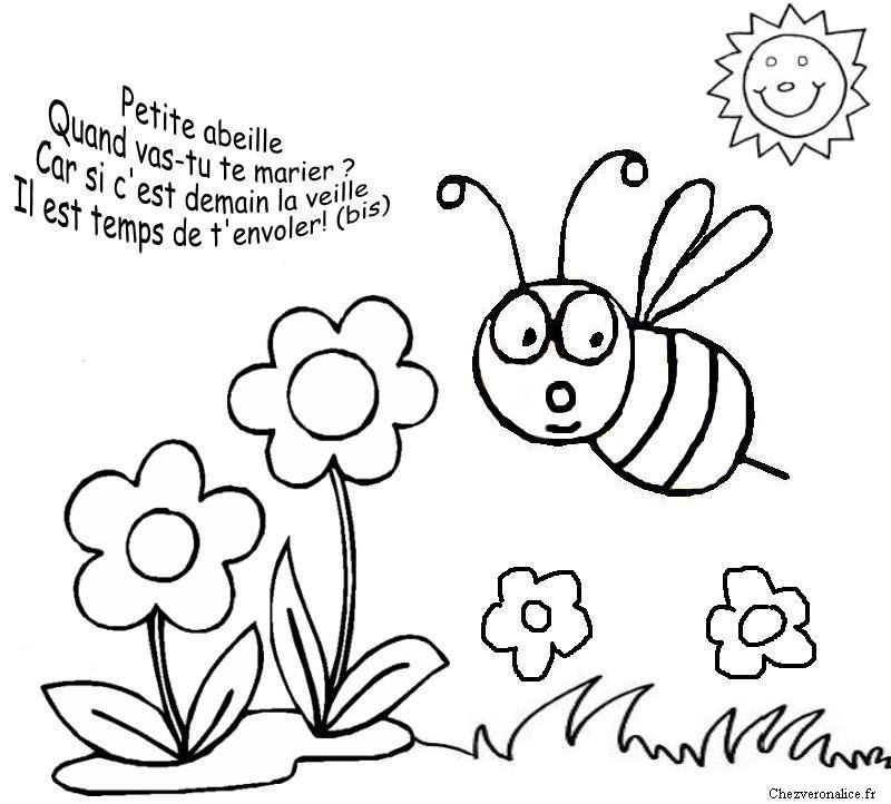 Coloriages comptines - Coloriage abeille ...